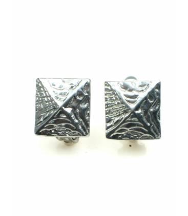 Vierkante metalen oorclips