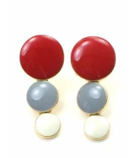 Mooie rood met grijs en witte oorclips