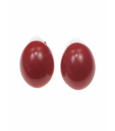 Rode ovale kunststof oorclips