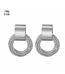 Zilverkleurige oorclip met losse ringetjes van Fiell