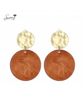 Sweet7 oorclips met ronde oranje hanger