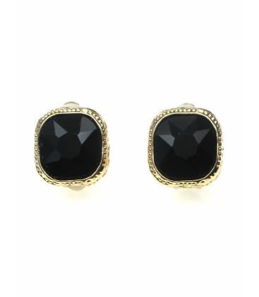 Zwarte strass steen oorclips in goudkleurige zetting