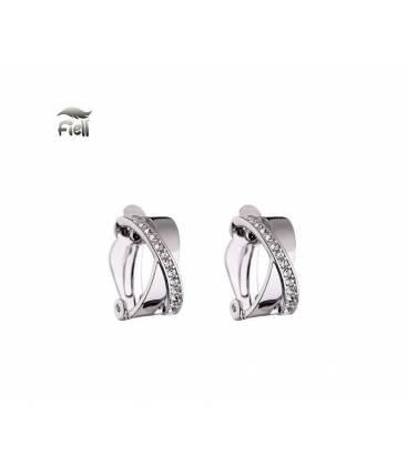 Oorclips in zilverkleur met heldere Zirconia strass steentjes