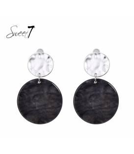 Sweet7 oorclips met ronde donkergrijze hanger