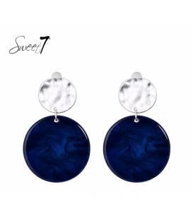 Sweet7 oorclips met ronde donkerblauwe hanger