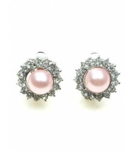 Clipoorbellen met strass steentjes en halve roze kunstparel