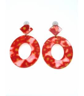 Rood met gele dunne oorclips