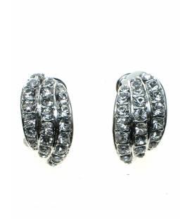 Zilverkleurige oorclips van 3 rijen met strass steentjes